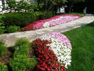 Seasonal Color added around Natural Stone Walkway in De Pere