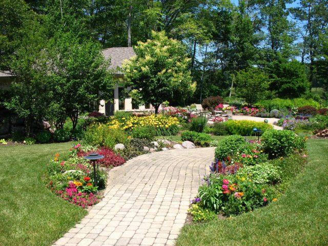 Backyard planting design and paver walkway