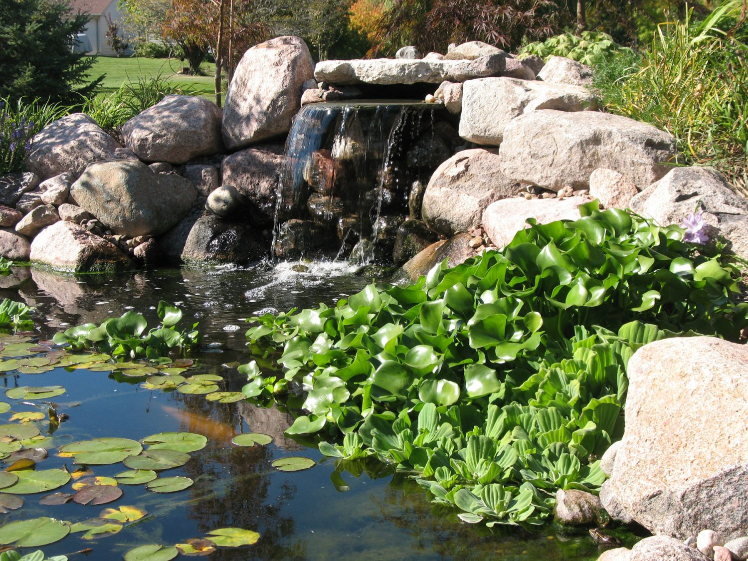 Waterfall and Pond in a Landscape in Green Bay