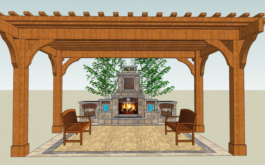 3D Landscape Design of Fire Place and Custom Pergola for client in Appleton