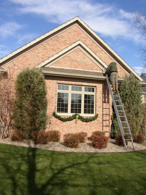 Holiday lighting and wreath installation for residential property in Appleton