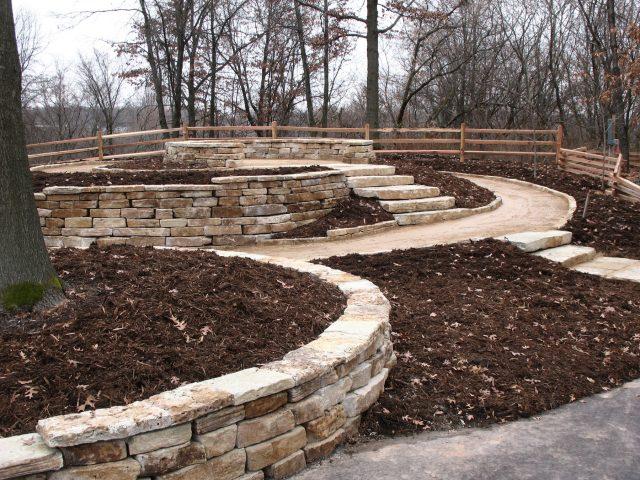 Natural Stone Retaining Wall and Natural Stones at the Green Bay Botanical Gardens