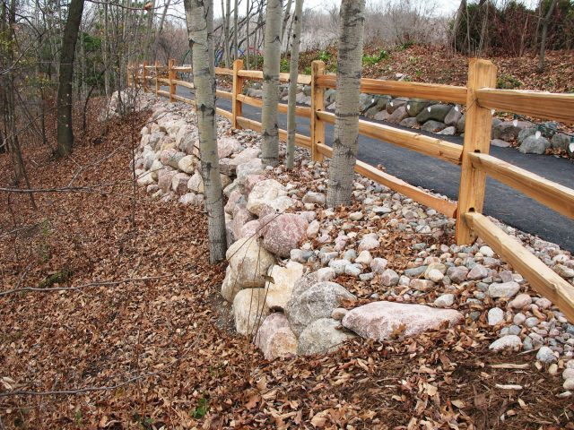Boulder Wall along a Walkway in Green Bay