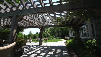 Pergola over a Natural Stone Patio in Green Bay