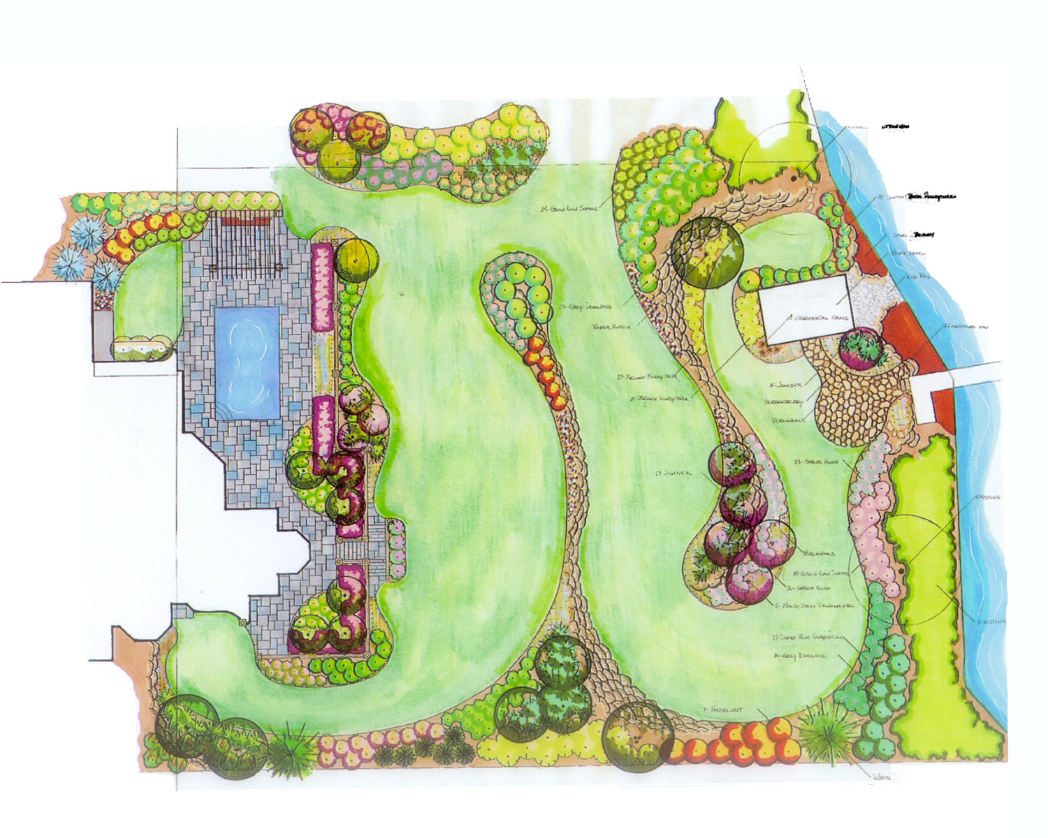 A computer rendered landscape design plan, showing the layout of the yard, flower beds, shrubs and gardens around the house.